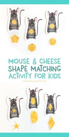 Shape Matching Printable Activity For Kids | Teach your preschooler or kindergartener basic shapes with this fun mouse and cheese game.