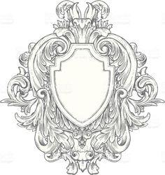 Ornato disegnato a mano Vintage araldica illustrazione royalty-free