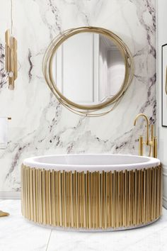 This emotional cylindrical bathtub is inspired by music. The gold-plated brass tubes give the needed touch of luxury, making the Symphony bathtub a piece of elevated design. The tub is made of white fibreglass giving it a clean look perfect for any luxury bathroom.
