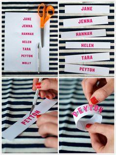 diy napkin rings / selbstgemachten serviettenringe mit namen