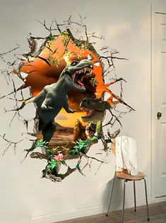 Cheap 3D Wall Stickers Online | 3D Wall Stickers for 2021 Wall Stickers Wallpaper, Kids Room Wall Stickers, Wallpaper Decor, Decoration Stickers, Wall Stickers Murals, Dinosaur Kids Room, Dinosaur Bedroom, Dinosaur Wall Decals, Removable Vinyl Wall Decals