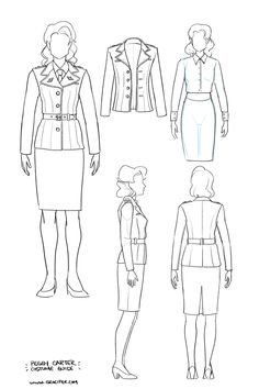 Tailor's reference sketch for Peggy's uniform from CA:TFA! Drawn by gracifer on @DeviantArt.