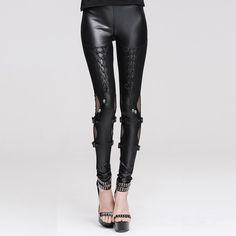 Devil Fashion Gothic Jett Leggings Stunning Gothic wet look leggings from  Devil Fashion! The beautiful Jett leggings are covered in detailing a42ba9d5f