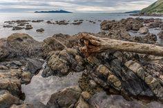 Rocks on a dull day, Centennial Highway between Pukerua Bay and Paekakariki Ref: New Zealand, Rocks, Towel, Coast, Gallery, Beach, Water, Outdoor, Image