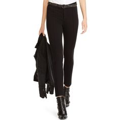 Polo Ralph Lauren Tailored Slim-Fit Pants (165 CAD) ❤ liked on Polyvore featuring pants, polo black, polo pants, slim pants, tailored trousers, black slim fit pants and slim trousers