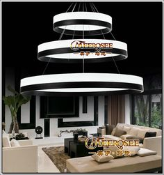 2014 New Arrival Modern LED Chandelier Light Fixture,Designer LED Large Pendant Lamp Black Ring Lighting for Hotel Project $199.00 - 899.00