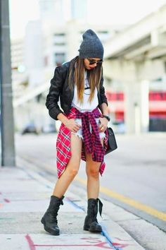 flannel for fall and combat boots