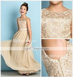 Floor-length Chiffon / Lace Junior Bridesmaid Dress - Mini Me A-line Scoop with Lace 2016 - $79.99