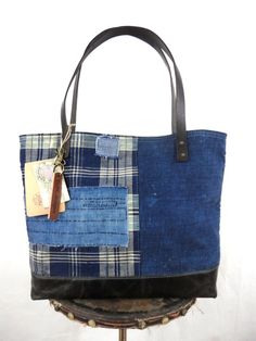 JAPANESE BORO TOTE Bag Purse Handwoven Indigo Dyed Early 1900's