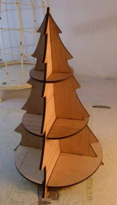 Wood Christmas tree no.2. l For all those Christmas trinkets and having no shelving! Yes plz
