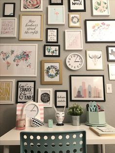 My gallery wall  It makes me happy when I have to do work!!!