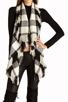 Black White Plaid Vest with Fringe - Longhorn Fashions