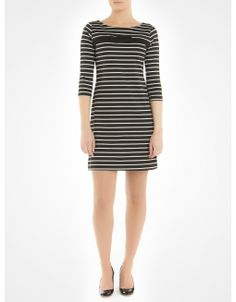 Robe en Ponte rayée avec boucle 100 % fabriquée au Canada - Striped ponte dress with bow 100% made in Canada