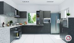 12 Grey Kitchens That Are Drop Dead Gorgeous Modern Countertops, Modern Kitchen Cabinets, Kitchen Cabinet Design, Kitchen Layout, New Kitchen, Kitchen Decor, Kitchen Ideas, Kitchen Tips, Kitchen Trends