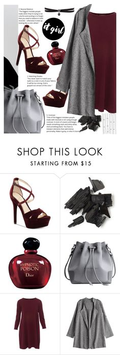 """""""falling falling falling"""" by xxmoony ❤ liked on Polyvore featuring Jessica Simpson, Christian Dior, Repeat, Fallon, Fall, dress, grey, burgundy and zaful"""
