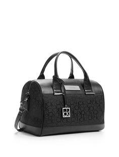 Calvin Klein Logo Jacquard Sleek Barrel Satchel Bag Handbag Black Calvinklein