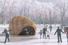 """Every year in Manitoba, there is an art and architecture competition on ice which takes proposals to create """"warming huts"""" for the world's longest naturally frozen skating trail, The River Trail in Winnipeg."""