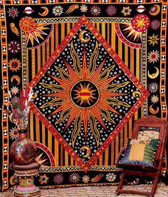 Golden Black Sun Star Tapestry 90 x 108 inch