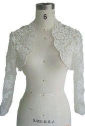 Womens Long Sleeves Lace Wedding Bridal Bolero