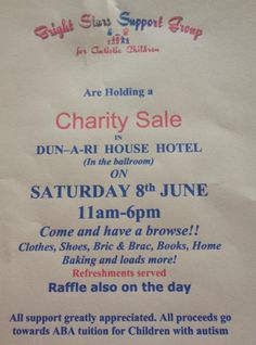 Charity Sale in Dun a Rí House Hotel on Saturday June 8th!