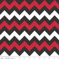 Riley Blake Medium TeamChevon Fabric Red White Black UGA style 1/2 Half Yard Cut Yardage available