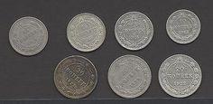 7 Silbermünzen der 1. Ausgabe 1922-1923sparen25.com , sparen25.de , sparen25.info