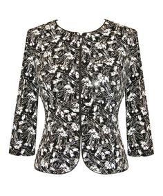 Look what I found on #zulily! Black & White Sequin Floral Zip-Up Jacket - Plus #zulilyfinds