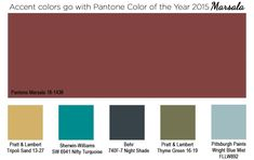 Accent colors to go with Pantone Color of the year 2015 Marsala, by Kate Smith form Sensational Color. Marsala, Pantone 2015, Pantone Color, Wall Wallpaper, Pattern Wallpaper, Accent Colors, Wall Colors, Color Games, Colour Board
