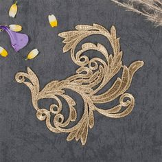 1 Pair Gold Embroidery Lace Applique DIY Trim Appliques Patch
