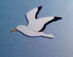 """PRECUT STAINED GLASS KIT SEAGULL #3 MOSAIC INLAY SEASCAPE CRAFT 4""""x5"""""""
