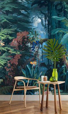 Tropical Forest Landscape Jungle Tone Blue Green Wallpaper - Atelier WYBO - My Dunsire Stripped Wallpaper, Green Wallpaper, Home Wallpaper, Tropical Wallpaper, Graffiti Murals, Mural Art, Wall Murals, Wall Art, Deco Jungle