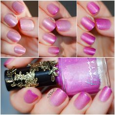 PhD nails: Swatch/Review of a Pink Thermal Nail Polish from Femme Fatal's - Mad Tea-Party Collection, titled 'Two Days Wrong' it changes from v.light Pink in a warm state to bright Fuchsia in cold - it's also full of pink shimmer & some flakes inside. Feminine with a nice twist ♥≻★≺♥