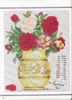 CURIOSA CORUJA: Gráfico Pt Cruz - Flores Cross Stitch Rose, Cross Stitch Flowers, Cross Stitch Kits, Cross Stitch Charts, Cross Stitch Embroidery, Cross Stitch Patterns, Flowers In Jars, Small Flowers, Craft Museum