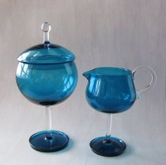 """Harlekiini"", design Nanny Still. I absolutely love these. Glass Bottles, Wine Glass, Art Of Glass, Crystal Glassware, Old Toys, Colored Glass, Scandinavian Design, Shades Of Blue, Finland"