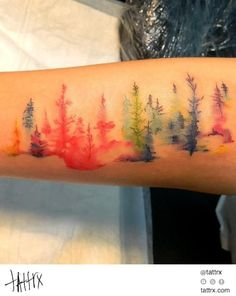 Wiji - Painted Trees. Watercolor and Acrylic Rainbow
