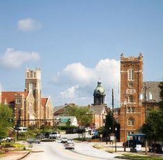 Romanesque style churches. Left is First Methodist Church and right is First Presbyterian Church. This is located in downtown Newnan, my hometown.