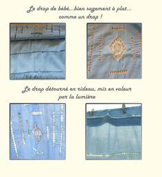 Détourner le linge ancien : un drap ancien transformé en rideau