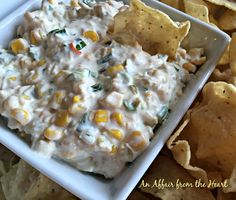 Corn dip Spicy, creamy and a sweet crunch from the corn. I was skeptical but it's good!