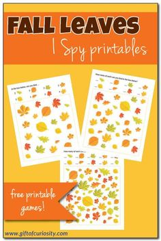 Free printable Fall Leaves I Spy game Fall Preschool Activities, Apple Activities, Educational Activities, Fall Arts And Crafts, Holiday Crafts For Kids, Christmas Ideas, I Spy Games, Printable Board Games, Worksheets For Kids