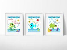 Kids Bathroom Art- Sea Creature Bathroom print set, Under The Sea, Kids Bathroom Decor,Bathroom Rules, Instant Download, PRINTABLE 8x10