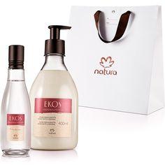 Presente Natura Ekos Madeira em Flor - Desodorante Colônia Frescor Feminino 75 ml + Polpa Desodorante Hidratante Corporal 400 ml + Embalagem - 66237