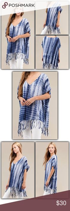 """Cozy Casual Tie Dye Fringe Swim Cover Up SMLXLXXL Be cozy & casual this season in this gorgeous tie dye tunic top with fringe hem. Lightweight with dolman sleeves for an easy, breezy, relaxed/slouchy fit. So versatile & can be worn as a swim cover up or poncho...super fun! Runs big.   S/M will fit large Bust 60"""" Length to end of fringe 34""""  M/L will fit XL to XXL Bust 62"""" Length to end of fringe 35"""" Swim Coverups"""