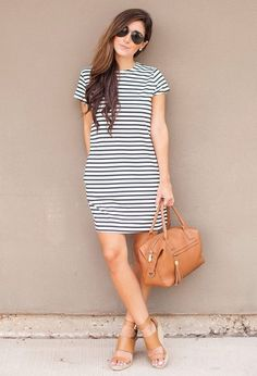 Striped Tee Dress Fall Inspo by The Darling Detail Tee Dress, Bodycon Dress, Fade Styles, Fall Dresses, Spring Outfits, Casual Outfits, Casual Wear, Short Sleeve Dresses, Street Style