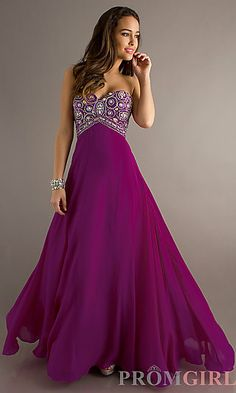 Long Strapless A-Line Formal Gown at PromGirl.com