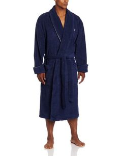 tommy bahama menu0027s boogie stogie embroidered micro cotton terry loop robe deep marine xx - Mens Bathrobes