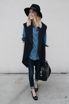75 Super-Chic Fall Outfit Ideas (Part II fall / winter – street style – street chic style – casual outfits – fall outfits – work outfits – comfy outfits – office wear – black long vest + denim shirt +… Continue Reading → Sleeveless Blazer Outfit, Long Vest Outfit, Outfit Jeans, Blazer Outfits, Casual Fall Outfits, Work Outfits, Outfit Work, Dress Shirt, Casual Wear