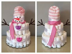 Diaper Snowman: I am going to knit a hat and scarf for this. put a pacifier in the mouth and put black buttons (something similar) down the middle