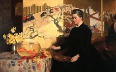 James Cadenhead (1858-1927) - Lady with a Japanese Screen and Goldfish, 1886