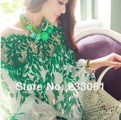 Camisa blusa chiffon 2014 novo verão primavera strapless Europeia oca folha de seda impresso rendas mulheres encabeça 8.50 - 15.56