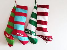 Cute and quirky personalized stockings.